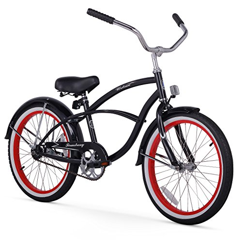 Firmstrong Urban Boy Single Speed Beach Cruiser Bicycle, 20-Inch, Black w/ Red Rims Top Price