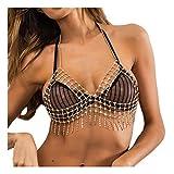MineSign Sexy Body Chain Women Rhinestone Diamond Bra Chains Womens Bikini Swimsuit Jewelry Gold