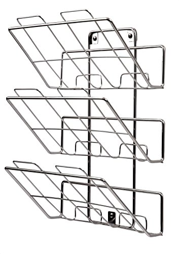 Spectrum Diversified File Holder and Magazine Rack, 3 Tiers, Wall Mount, Chrome