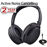 Avantree Active Noise Cancelling Bluetooth 4.1 Headphones Mic, Wireless Wired Foldable Stereo ANC Over Ear Headset, Low Latency TV PC Phone - ANC032 [24M Warranty]