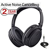 Avantree Active Noise Cancelling Bluetooth 4.1 Headphones with Mic, Wireless Wired Comfortable Foldable Stereo ANC Over Ear Headset, Low Latency for TV PC Phone - ANC032 [24M Warranty]