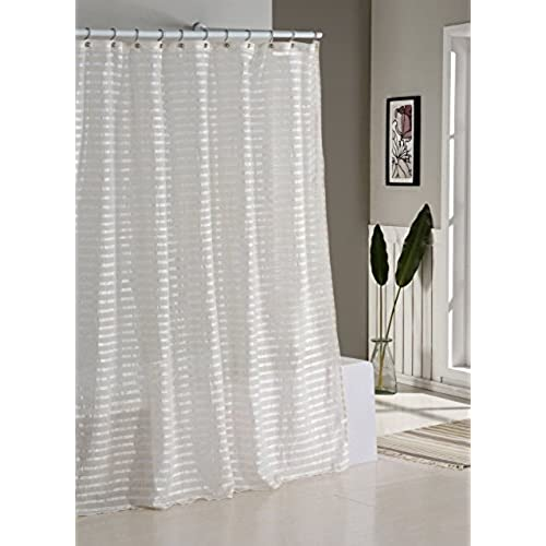 deal spectacular sheer ruffled on chic cascade shabby bargains shower shop plus ivory home curtain