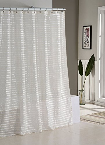 Fabric Shower Curtain: Natural Linen Blend, White and Ivory Stripes - Fabric Shower Curtain with Alternating Stripe Pattern of glossy white and Ivory/Linen Size: 70in x 72in (178cm x 183cm). Care: Machine Washable and Dryer Friendly Soothing Earthy Tones Color Palette and Semi Sheer Natural Linen Blend that are Great for Allowing Light Into Dark Showers/Bathtubs: Shower Curtain Liner Recommended - shower-curtains, bathroom-linens, bathroom - 51AEWlHtEYL -