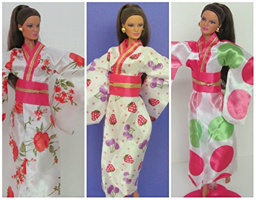 HelloJoy Lot 3 PCS Fashion Handmade Japanese Kimono for Barbie Doll Xmas Gift