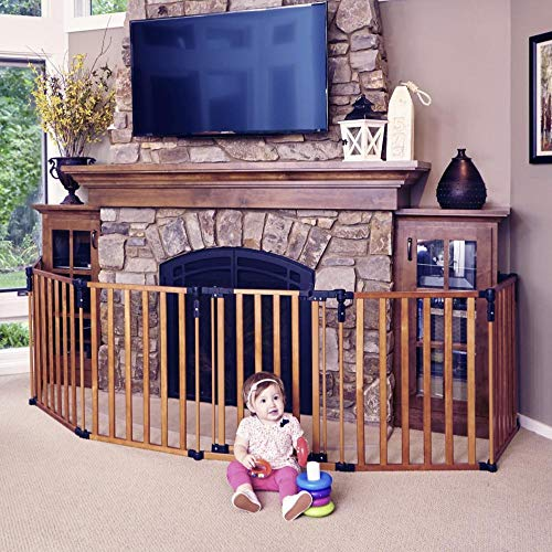 Toddleroo by North States 3 in 1 Wood Superyard: 151″ Long Extra Wide Baby gate, Barrier or Play Yard. Hardware or freestanding. 6 Panels, 10 sq.ft. Enclosure (30″ Tall, Stained Wood)