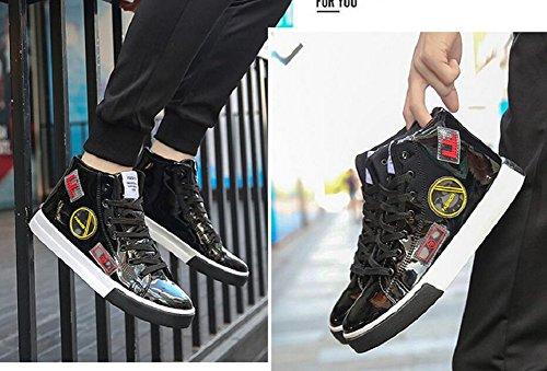 Jiye Mens Snörning Skatesko Ungdom Mode Sneakers Svart