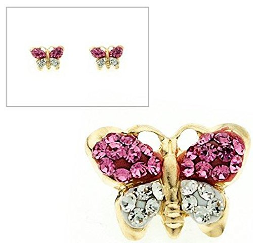 Butterfly Post Earrings (10KT Gold Pink and White Crystal Butterfly Post Earrings)