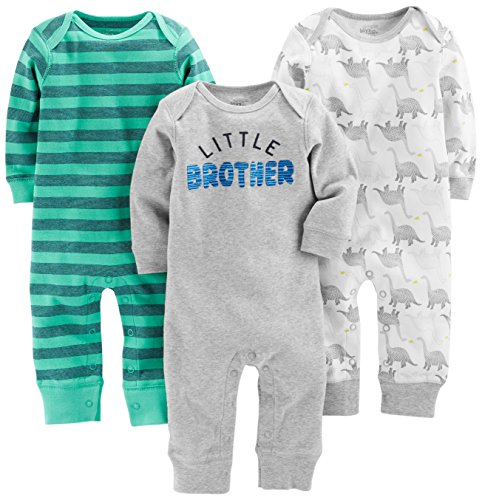 Simple Joys by Carter's Baby Boys' 3-Pack Jumpsuits, Dino, Green Stripe, Gray, 6-9 Months