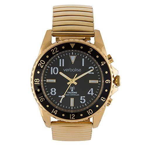 Verbalise Gold Men's Talking Global Radio Controlled Watch Deluxe Range (Expanding)
