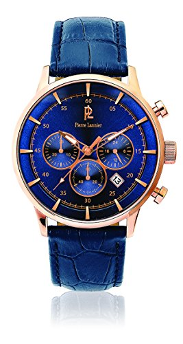 Men's Watch Pierre Lannier - 225D466 - ELEGANCE CHRONO - Chronograph - Date - Blue Leather - Elegance Chronograph