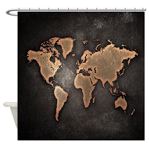 CafePress Vintage World Map Shower Curtain - Decorative F...