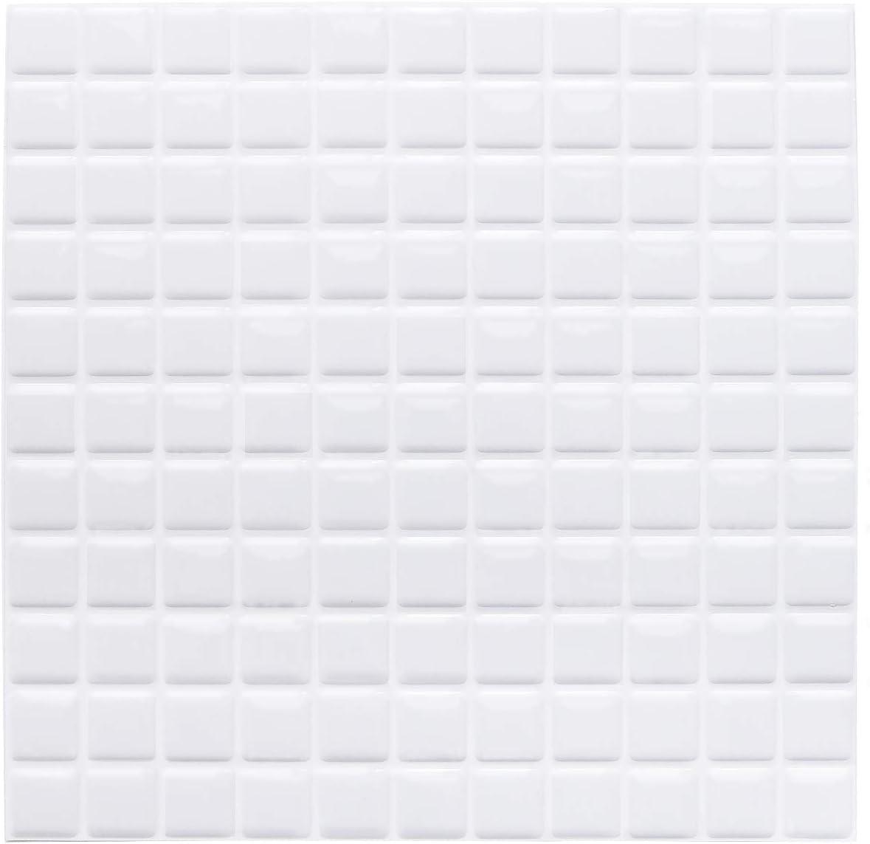 Yoillione 3D Mosaic Tile Sticker Removable Wallpaper Tile White, 3D Self Adhesive Wall Tiles Bathroom Wall Tiles for Kitchen Backsplash White, PVC Square Decorative Vinyl Tile Decals, 4 Sheets