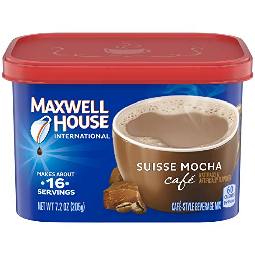 Maxwell House International Cafe Suisse Mocha Instant Coffee (7.2 oz Canisters, Pack of 4)
