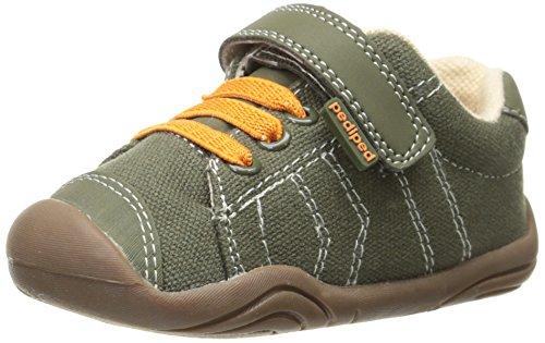 pediped Jake Grip-N-Go Sneaker (Toddler/Big Kid),Olive Orange,18 EU (3.5 M US Big Kid)