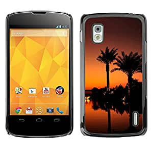 "For LG Nexus 4 E960 , S-type Puesta de sol de coco Beautiful Nature 119"" - Arte & diseño plástico duro Fundas Cover Cubre Hard Case Cover"