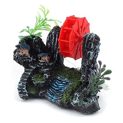 Amazon.com: eDealMax Plantas cerámica acuario waterwheel paisaje de ...