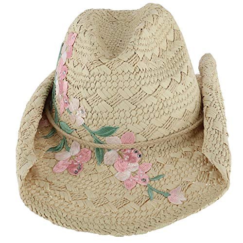 CTM Women's Textured Western Hat with Embroidered Flower, Natural