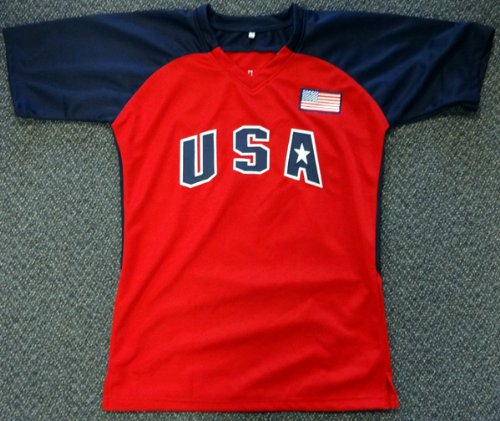 """TEAM USA JENNIE FINCH AUTOGRAPHED RED & BLUE JERSEY""""04' GOLD"""" PSA/DNA STOCK #65560"""