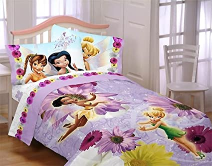 Amazon Com Tinkerbell Fairies Twin Bedding Set Comforter And Sheets
