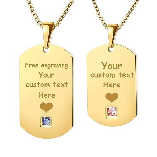 GAGAFEEL Personalized Custom Necklace Engraved Couple Family ID Tag Pendant  DIY Xmas Gift for Women Men 247e8e9e86