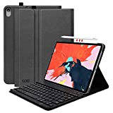 iPad Pro 11 Keyboard Case - Textured Hard Case with Detachable Wireless Keyboard for 11 Inch iPad Pro 2018 (Support Apple Pencil 2 Charging) - with Pencil Holder - Black