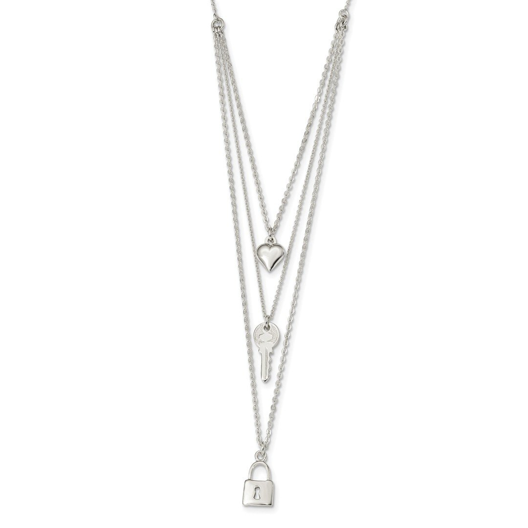ICE CARATS 925 Sterling Silver Lock Heart Key Multi Strand 16 Inch Chain Necklace Pendant Charm S/love Fine Jewelry Ideal Gifts For Women Gift Set From Heart