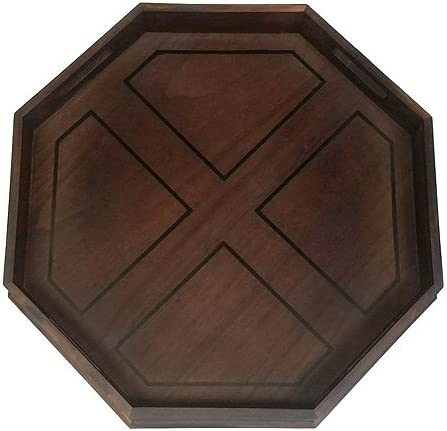 "B00HZWS3B4 Mountain Woods Brown Octagon Ottoman Wooden Serving Tray with Handles - 22"" x 22\"" x 2.5\"" 61IaXMZaNLL"