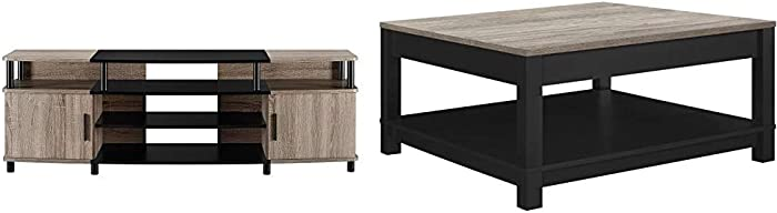 """Ameriwood Home Carson TV Stand for TVs up to 70"""", Weathered Oak & Carver Coffee Table, Black"""
