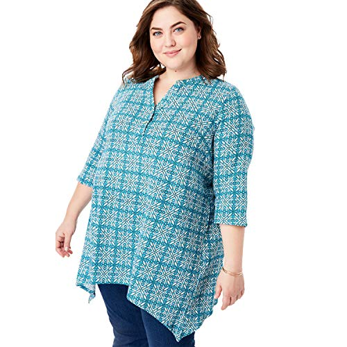 Medallions 0.875 - Woman Within Women's Plus Size Buttoned Notch Neck Gauze Maxi Tunic - Caribbean Blue Medallion, 14/16