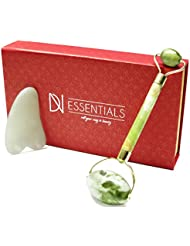 Jade Roller & Gua Sha Set | Face Massager & Body Scraping Tool Premium 100% Jade Stone | Anti Aging Facial Skincare Massage Kit For Women & Men | Reduce Wrinkles & Toxins DN ESSENTIALS