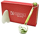 Facial Bones Muscles - Jade Roller & Gua Sha Set | Face Massager & Body Scraping Tool Premium 100% Jade Stone | Anti Aging Facial Skincare Massage Kit For Women & Men | Reduce Wrinkles & Toxins DN ESSENTIALS