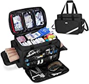 Trunab First Aid Bag Empty, Professional Medical Bag Emergency Responder Trauma Bag with Inner Dividers and An