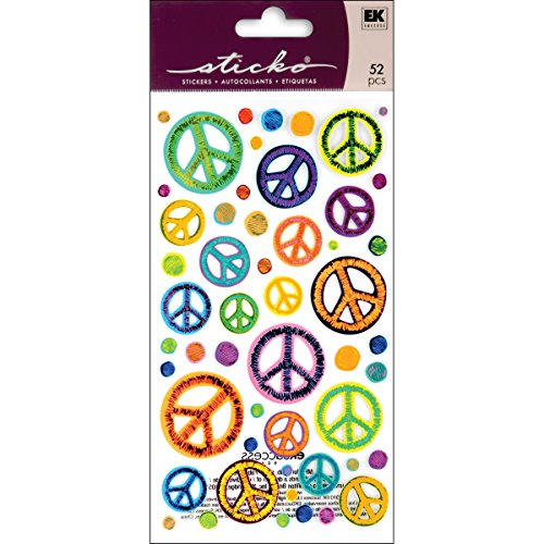 Sticko EK Success 52-00209 Sketchy Peace Signs Stickers -