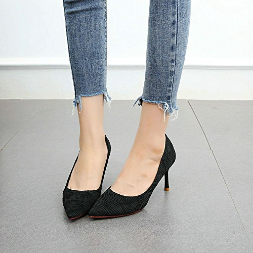 Zapatos Multa el black Solo de de Zapatos la tacón Boca Estilo La Las de Baja Alto Acentuado Temperamento de Fiesta de YMFIE Trabajo Zapatos Mujeres con q5BFxp