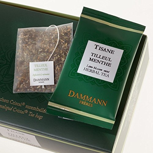 Lime Blossom Tea - DAMMANN FRERES - LIME BLOSSOM PEPPERMINT Tea - 24 wrapped crystal envelopped tea bags