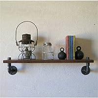 LightInTheBox Industrial Loft-Style Wrought Iron Wall Shelf Bathroom Shelf Vintage Wood Wall Water Pipe Pack-Z19