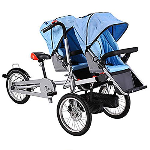LJHHH Foldable Baby Car,Three-Wheeled Electric Mother Car with Baby Car,Double Bicycle Parent-Child Car Infant Child,Can Sit and Ride,Blue,twoseats