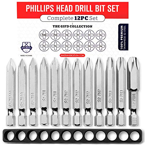 Phillips Screwdriver Drill Bit Set (12pc COMPLETE SET) PH #000 - PH #4 Hex Shank Magnetic Bit Set - Impact Ready/w Storage Case - Fortified S2 Steel - Long 2in Heads for Handheld and Electric Drills