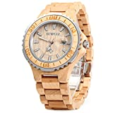 GBlife BEWELL ZS Wooden Watch Men Quartz with Luminous Hands 30M Water Resistance