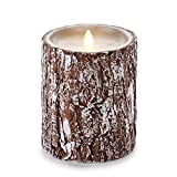 Luminara Unscented Candle with Silver Washed Bark 4 x 5 inches