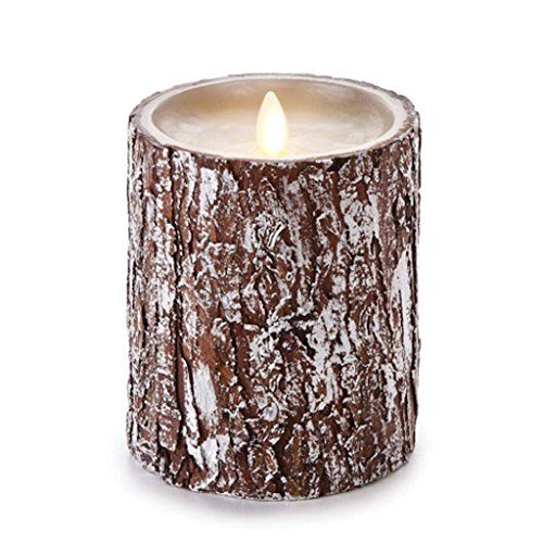 Luminara Unscented Candle with Silver Washed Bark 4 x 5 inches (Pillar Silver Wrapped)
