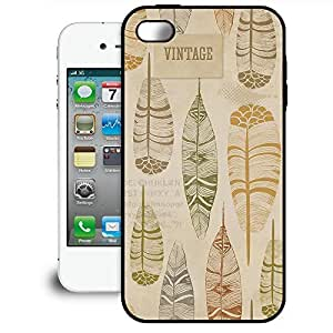 Bumper Phone Case For Apple iPhone 4/4S - Vintage Feathers Tribal Premium Cover