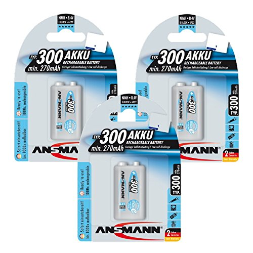 ANSMANN 9V Rechargeable Batteries 300mAh pre-charged Low Self-Discharge (LSD) NiMH 9 Volt Battery 9V Battery (3-Pack)