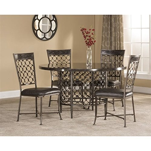 Bowery Hill 5 Piece Round Dining Set in Charcoal