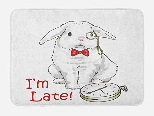 """Lunarable Alice in Wonderland Bath Mat, Funny Rabbit with Watches in Cartoon Style Design Character Fantasy, Plush Bathroom Decor Mat with Non Slip Backing, 29.5"""" X 17.5"""", White Red"""