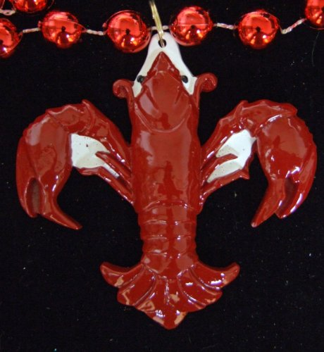 Crawfish Fleur de Lis Lobster Beads Necklace New Orleans Mardi Gras Cajun Carnival - Crawfish Mardi Gras Beads