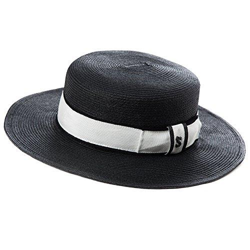 "Siggi Womens Skimmer Boater Straw Hats 2.8"" Wide Brim Derby Panama Fedora Cap Black"