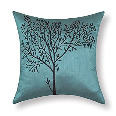 CaliTime Cushion Covers Pillows Shell Teal Ground Embroidered 18 X 18 Inches Brown Tree