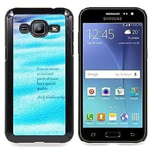 """Qstar Arte & diseño plástico duro Fundas Cover Cubre Hard Case Cover para Samsung Galaxy J2 / J200 (Las olas del mar Océano Surf Cita Blue Water"""")"""