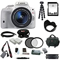 Canon EOS Rebel SL1 DSLR Camera with EF-S 18-55mm f/3.5-5.6 IS STM Lens (White) and 64GB Deluxe Accessory Kit Overview Review Image